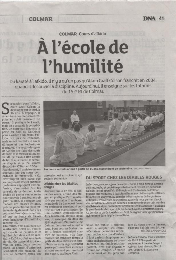 aikido Colmar article de presse